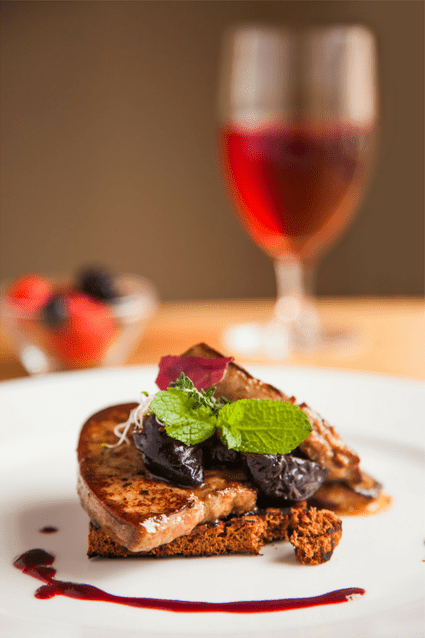 Local foie gras and wine from the Gers, France